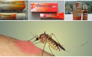 मच्छर काटने से जेल फेनिस्टिल: निर्देश, समीक्षा और अनुरूपताएं